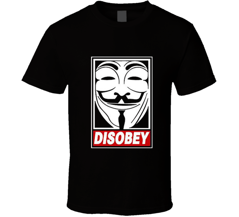 V For Vendetta Disobey Anonymous Guy Fawkes Mask hacker T Shirt