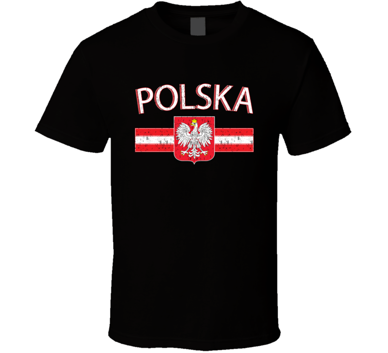 Polska Crest Coat of Arms Poland Polish Black T Shirt
