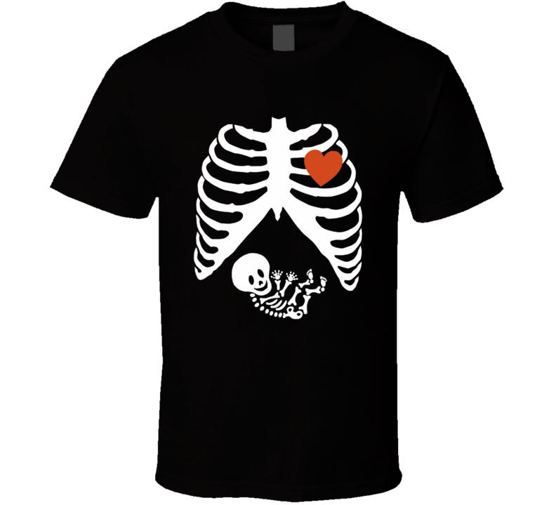 Pregnant Skeleton Halloween Costume Funny Maternity Baby Cute Fun T Shirt