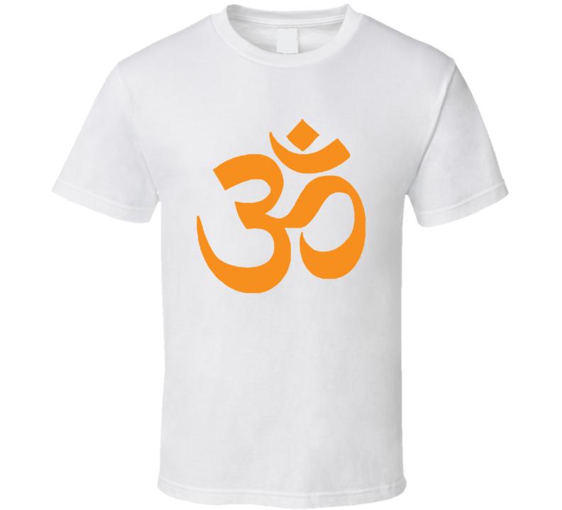 OM AUM Buddhist Zen YOGA Hindu INDIA Sanskrit Orange T Shirt