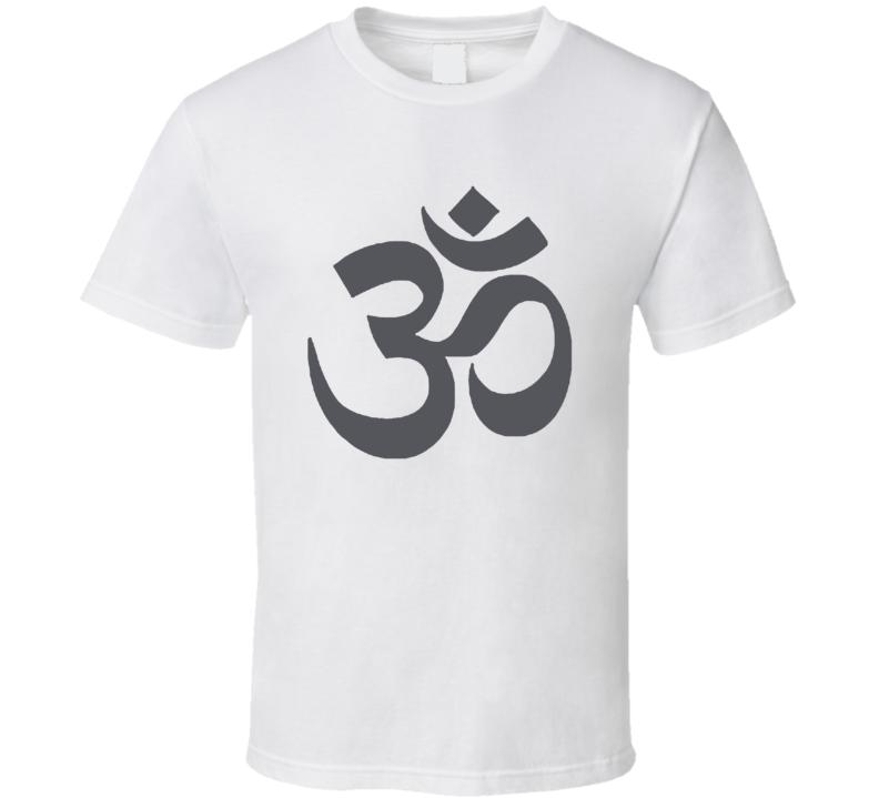 OM AUM Buddhist Zen YOGA Hindu INDIA Sanskrit Grey T Shirt