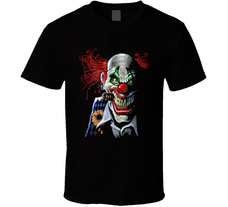 Menacing Joker Clown Evil Smile with Cigar Graphic T Shirt