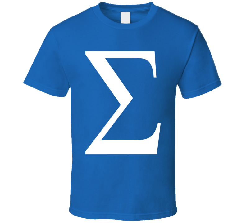 Greek Letter Sigma Funny Geek Math Symbol T Shirt Sizes XSmall Youth - 3XL