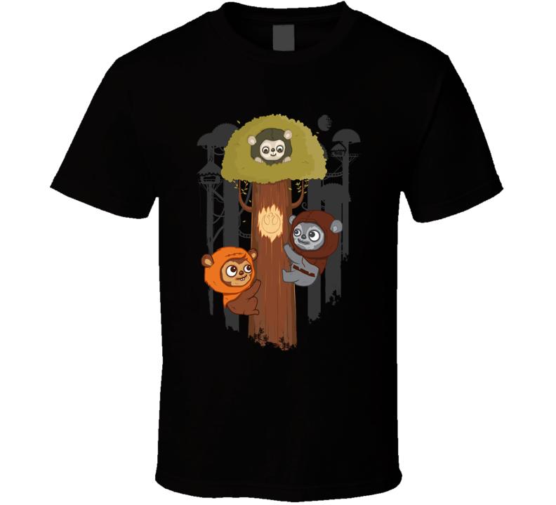 Rebel Ewoks Star Wars Black T Shirt
