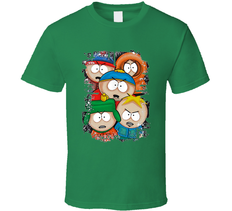 South Park Angry Kids Irish Green T Shirt
