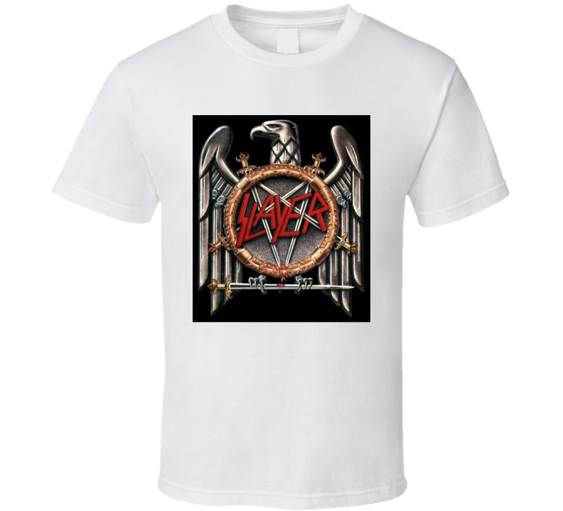 Slayer Retro 80's Rock Band Eagle Logo White T Shirt