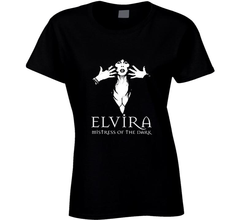 Elvira In The Dark Halloween Ladies T Shirt