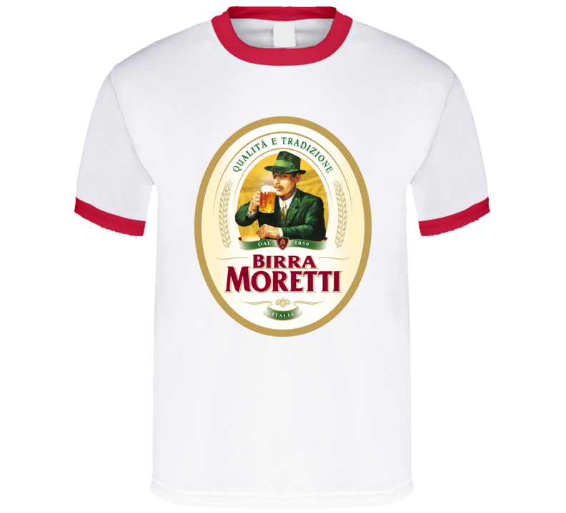 Birra Moretti Biera Italian Beer Italy Red Ring T Shirt