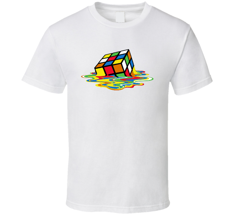 New Melting Rubik's Cube Shirt Melted Rubic's Cube Big Bang Theory white