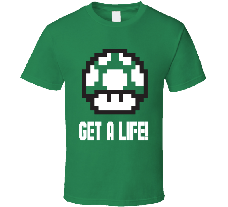 Nintendo Super Mario Brothers Game Green Mushroom Get A Life T Shirt