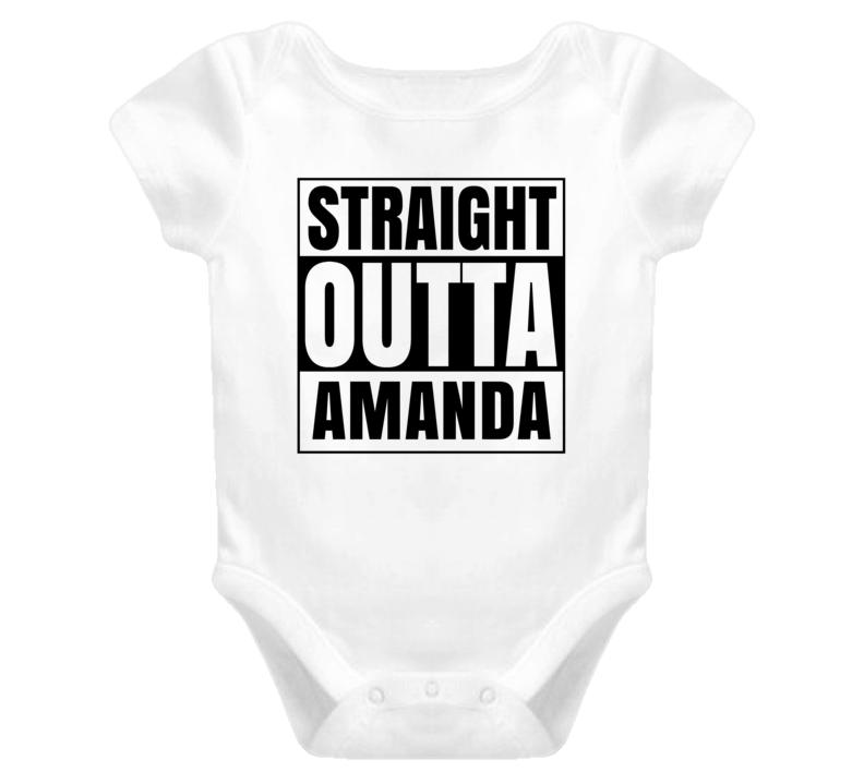 Straight Outta Amanda Female Name Pregnancy Baby One Piece