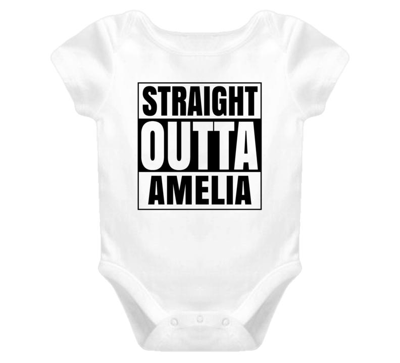 Straight Outta Amelia Female Name Pregnancy Baby One Piece