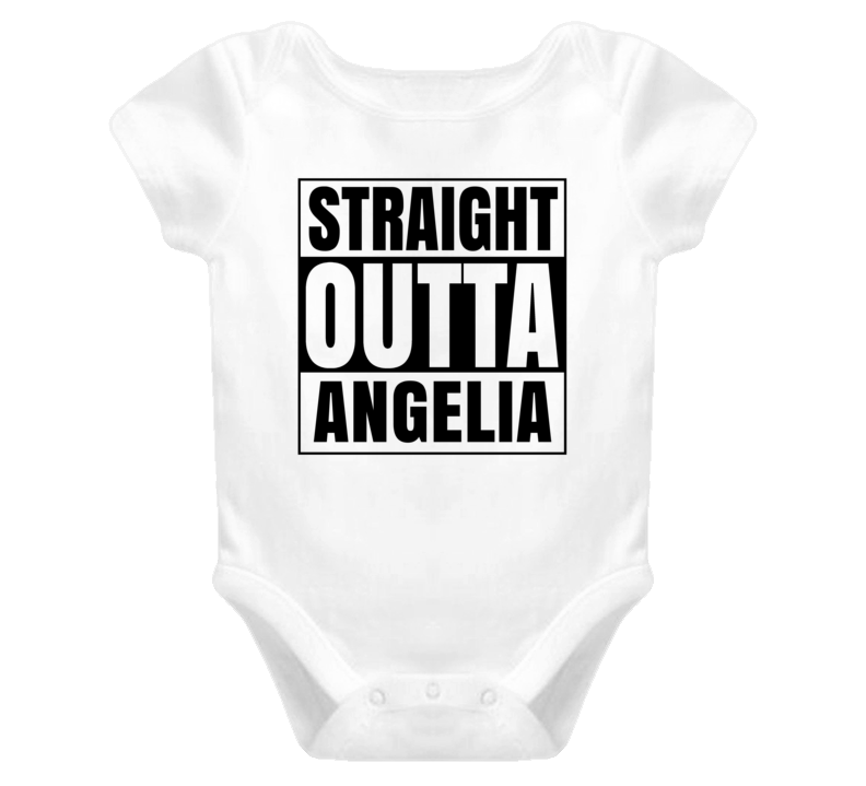 Straight Outta Angelia Female Name Pregnancy Baby One Piece