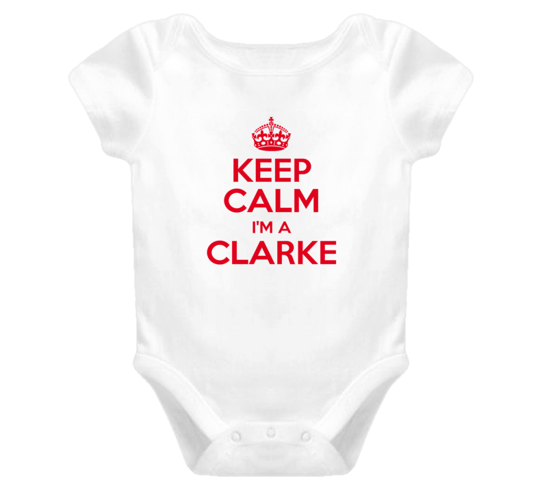 Family Clarke Keep Calm and Carry On Baby One Piece Bodysuit
