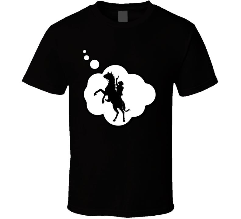 I Dream Of Cowboy Mounted Shooting Sports Hobbies Thought Bubble Fan Gift T Shirt