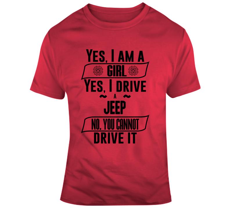 Girl Driving Jeep Fun Car Gift T Shirt