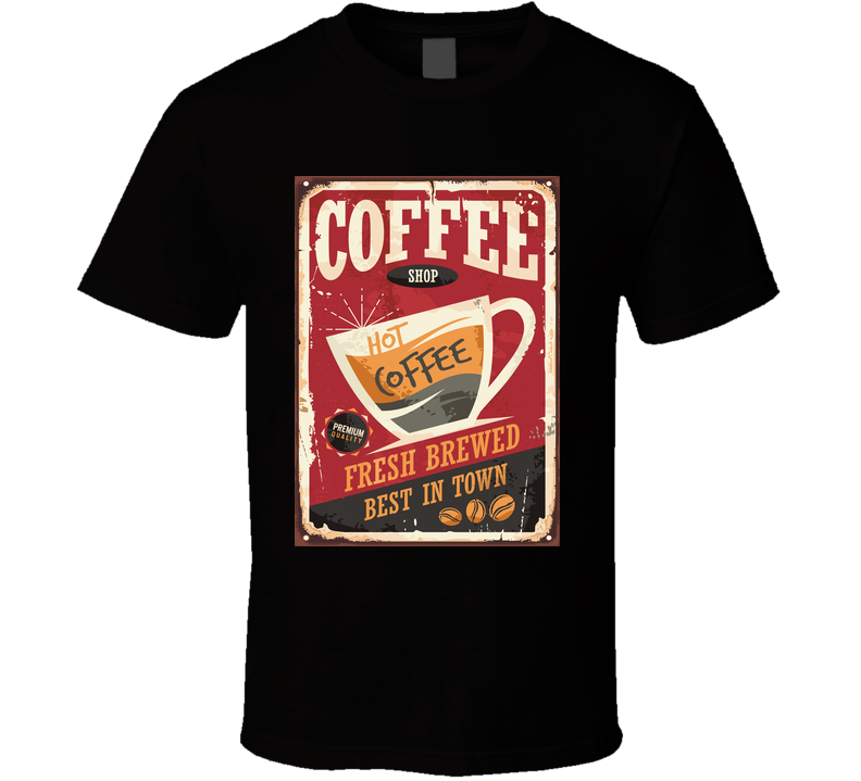 Coffee Shop Retro Tin Sign Vector Illustration On Red Background Perfect For Cafe T Shirt T Shirt