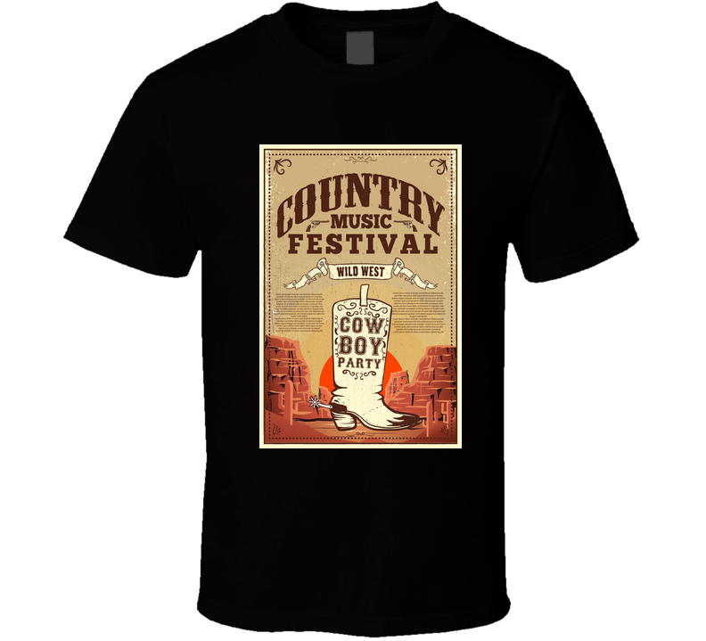 Country Music Festival Poster Party Flyer With Cowboy Boots Design Element For T Shirt T Shirt
