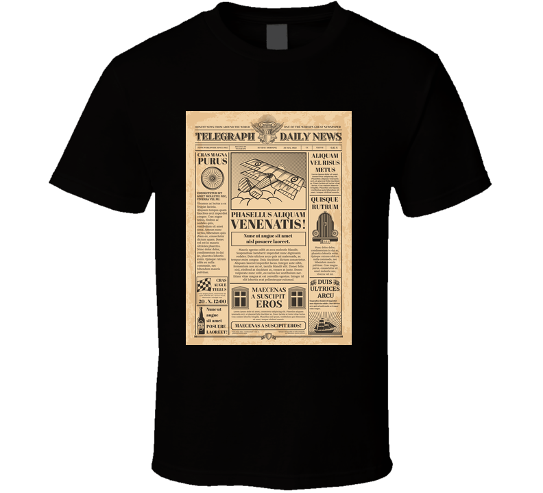Old Newspaper Vector Template Retro Newsprint With Text And Images Newspaper T Shirt T Shirt