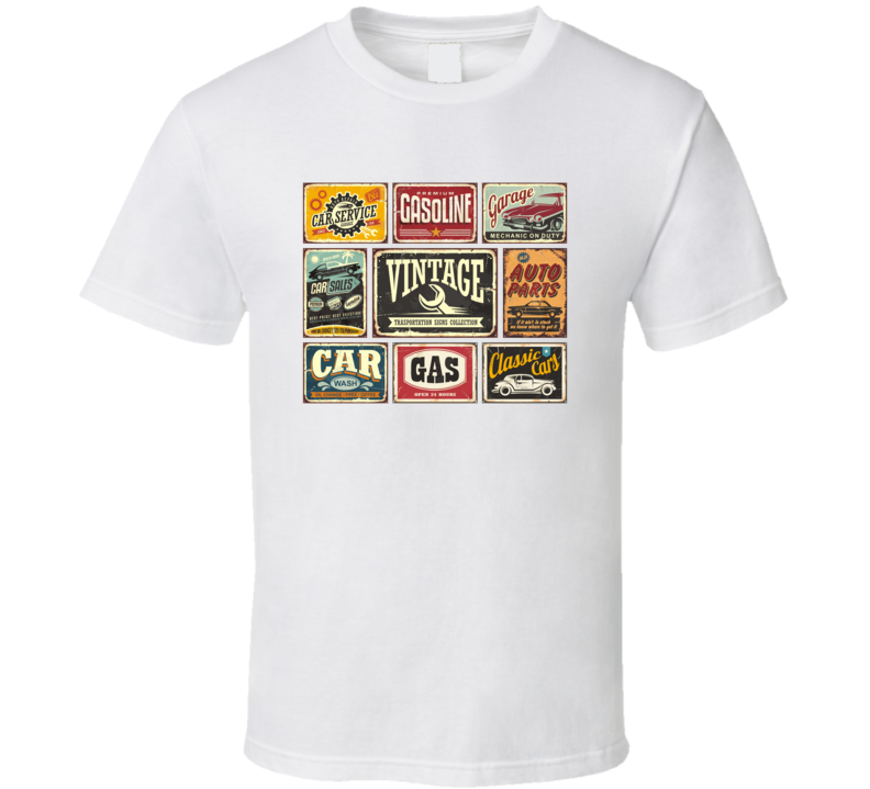 Vintage Transportation Signs Collection For Car Service Auto Parts Car Wash Gas T Shirt T Shirt