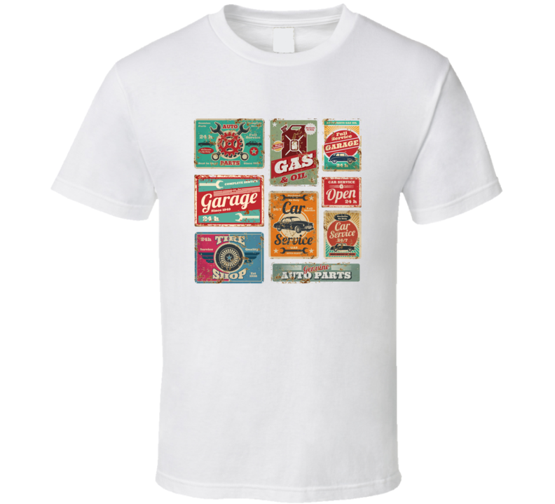 Vintage Car Service And Gas Station Vector Metal Signs Gas Station For Car Metal T Shirt T Shirt