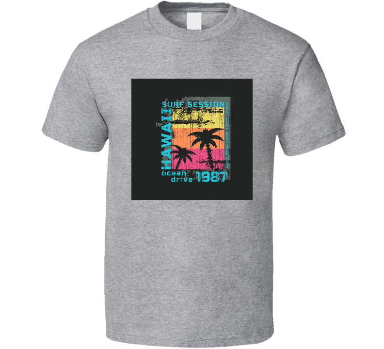 Vector Illustration On The Theme Of Surf And Surfing In Hawaii Sunset Beach North T Shirt T Shirt