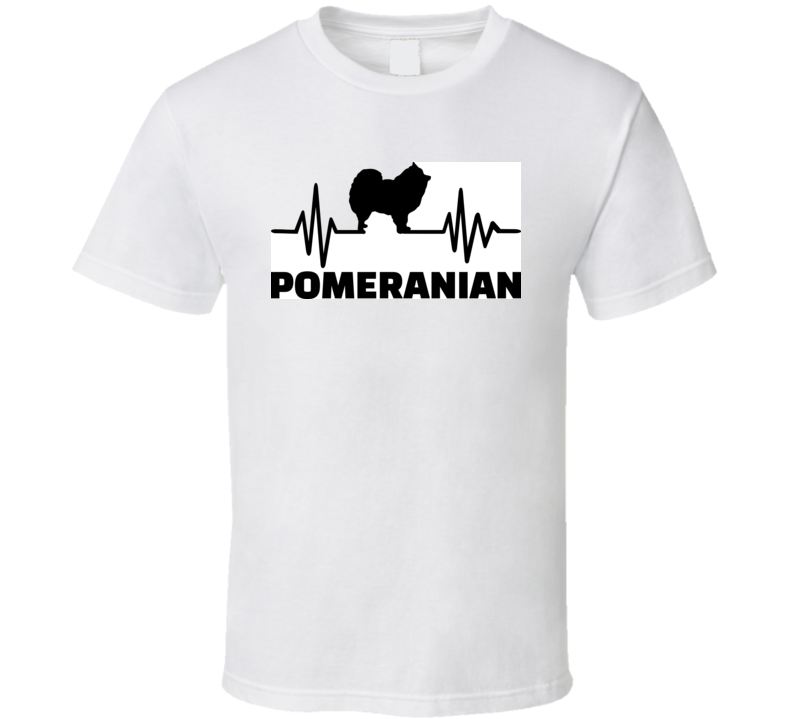 Heartbeat Pulse Line With Pomeranian Dog Silhouette  T Shirt T Shirt