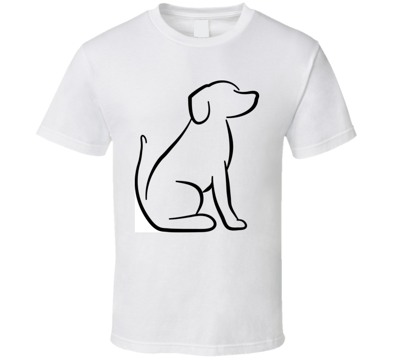 Dog Sitting Silhouette In White T Shirt T Shirt