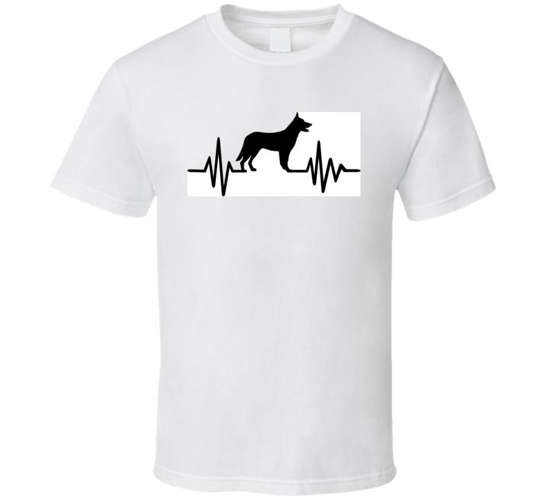 Heartbeat Or Pulse With German Shepherd Silhouette  T Shirt T Shirt