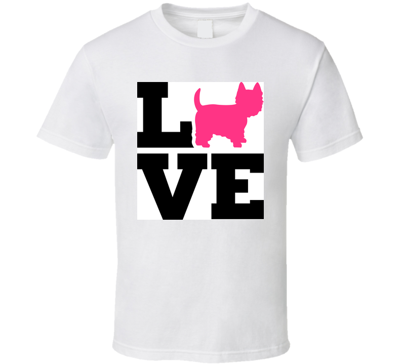 Westie Love With Pink Silhouette T Shirt T Shirt