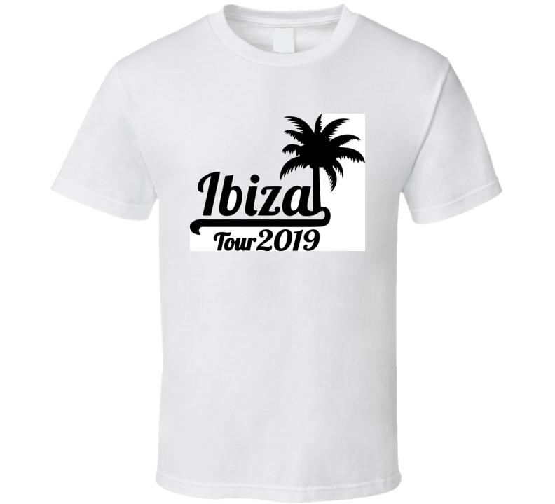 Ibiza Tour 2019 With Palm Tree Black T Shirt T Shirt