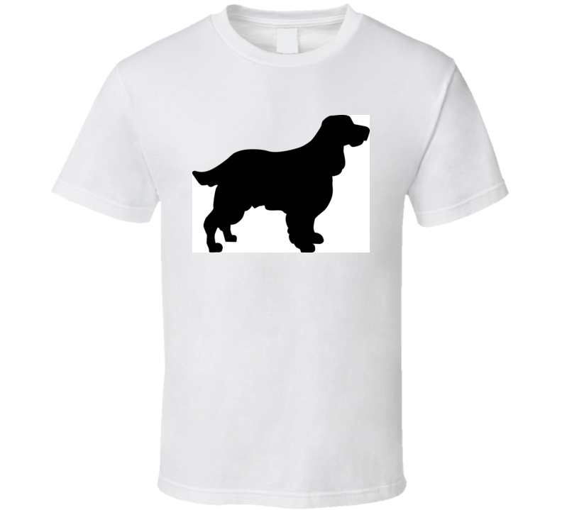 English Springer Spaniel Silhouette Real In Black T Shirt T Shirt