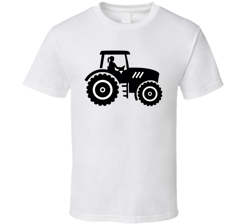 Farmer Tractor With Female Farmer T Shirt T Shirt