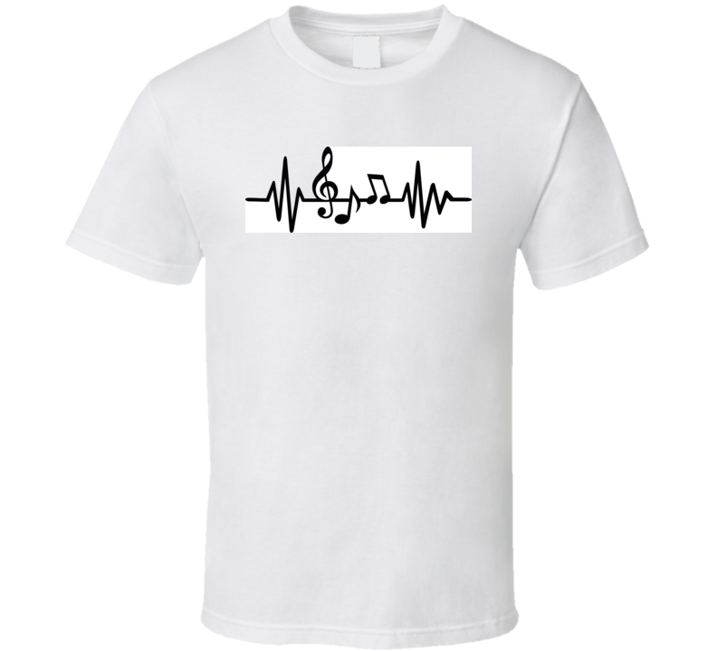 Heartbeat Pulse Line Music With Notes And Clef T Shirt T Shirt