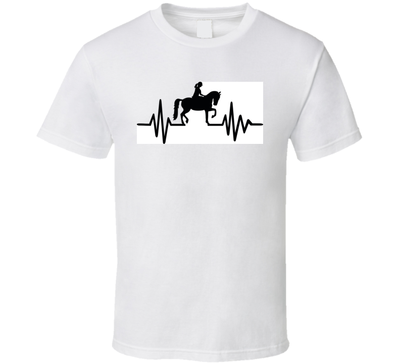 Heartbeat Pulse Line With Horse Equestrian And German Word T Shirt T Shirt