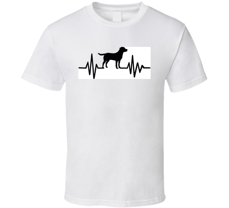 Heartbeat Pulse Line Dog With Labrador Silhouette Black T Shirt T Shirt