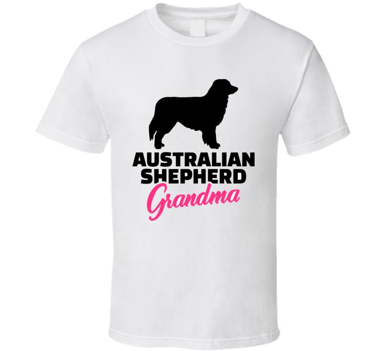 Australian Shepherd Grandma Silhouette Black T Shirt T Shirt