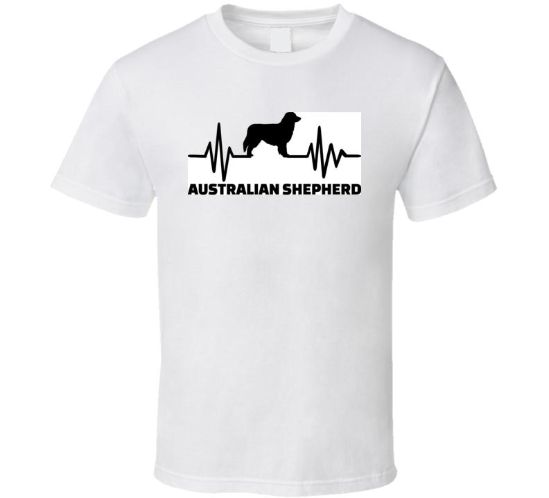 Heartbeat Frequency With Australian Shepherd Dog Silhouette T Shirt T Shirt