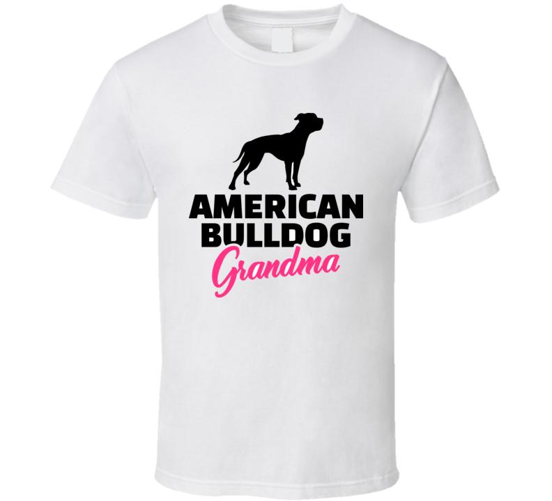 American Bulldog Grandma Silhouette In Black T Shirt T Shirt