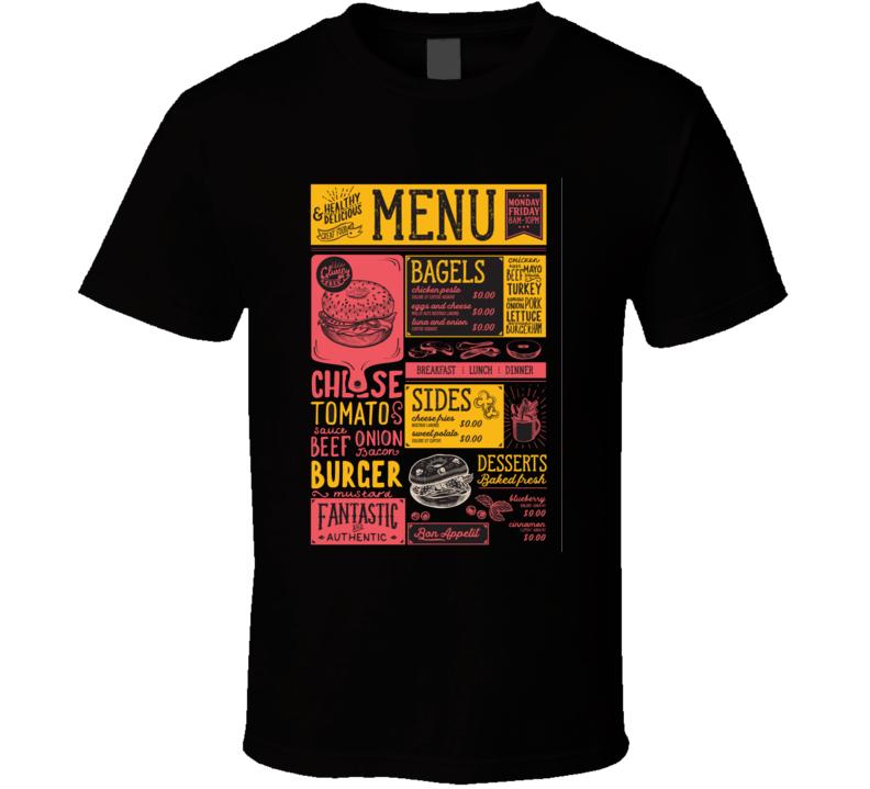 Bagels Restaurant Menu Vector Sandwich Food Flyer For Bar And Cafe Design With T Shirt
