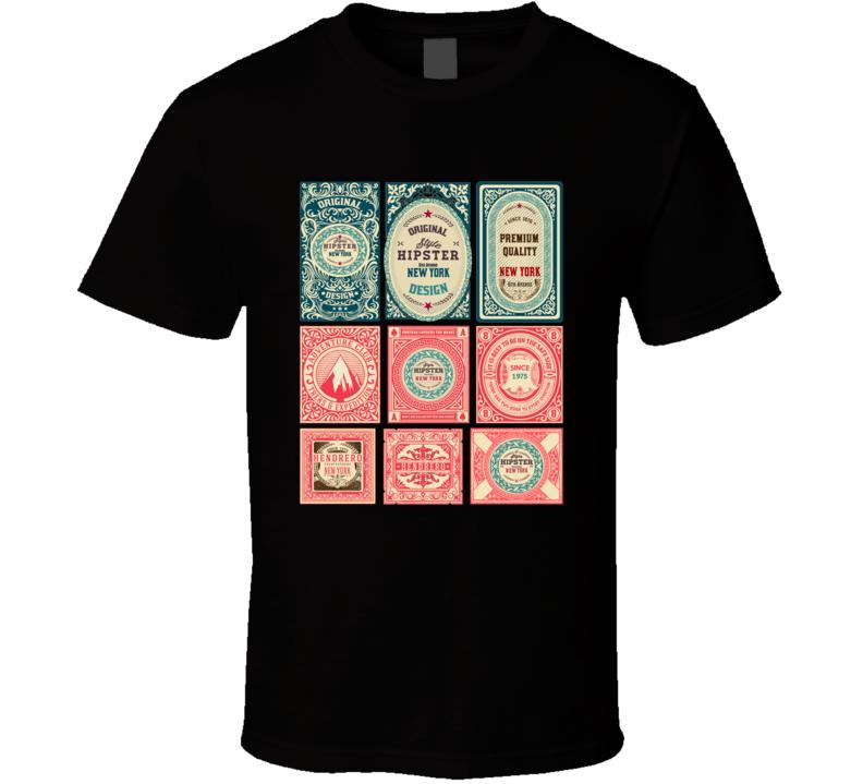 Set Of 9 Vintage Labels T Shirt