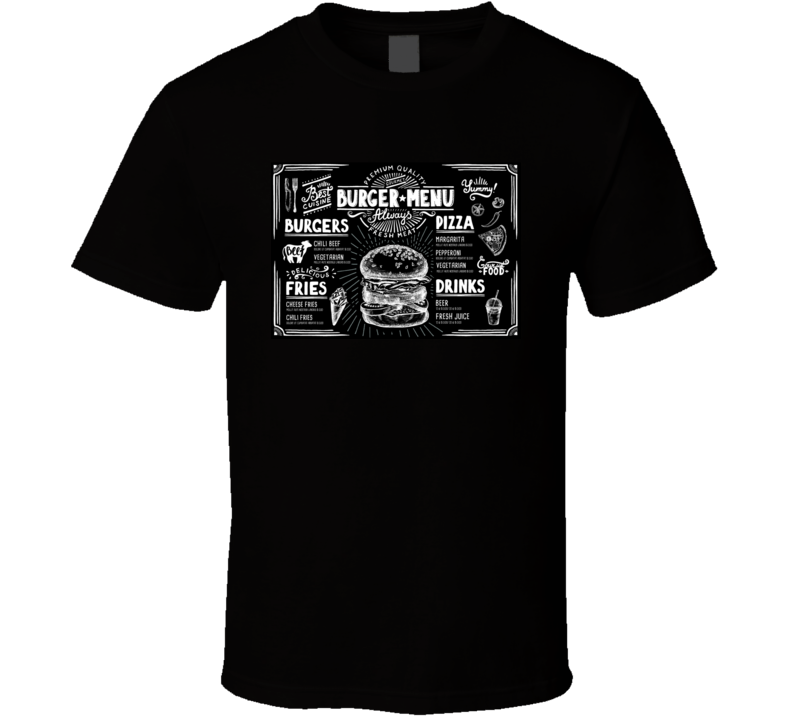 Food Menu For Restaurant And Cafe Design Template With Hand-drawn Graphic In T Shirt
