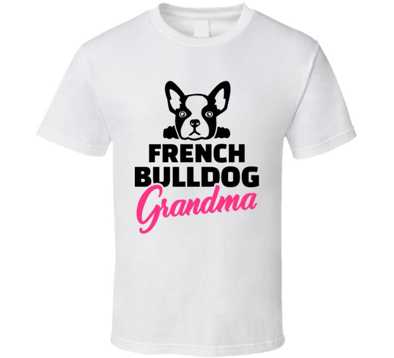 French Bulldog Grandma Silhouette Black T Shirt