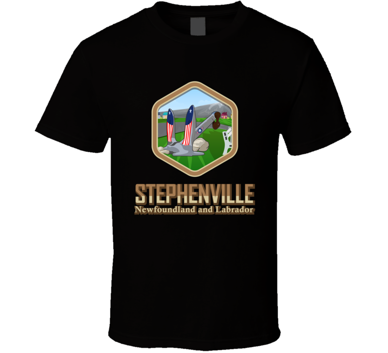 Black Stephenville With Anchor Hexagon T Shirt