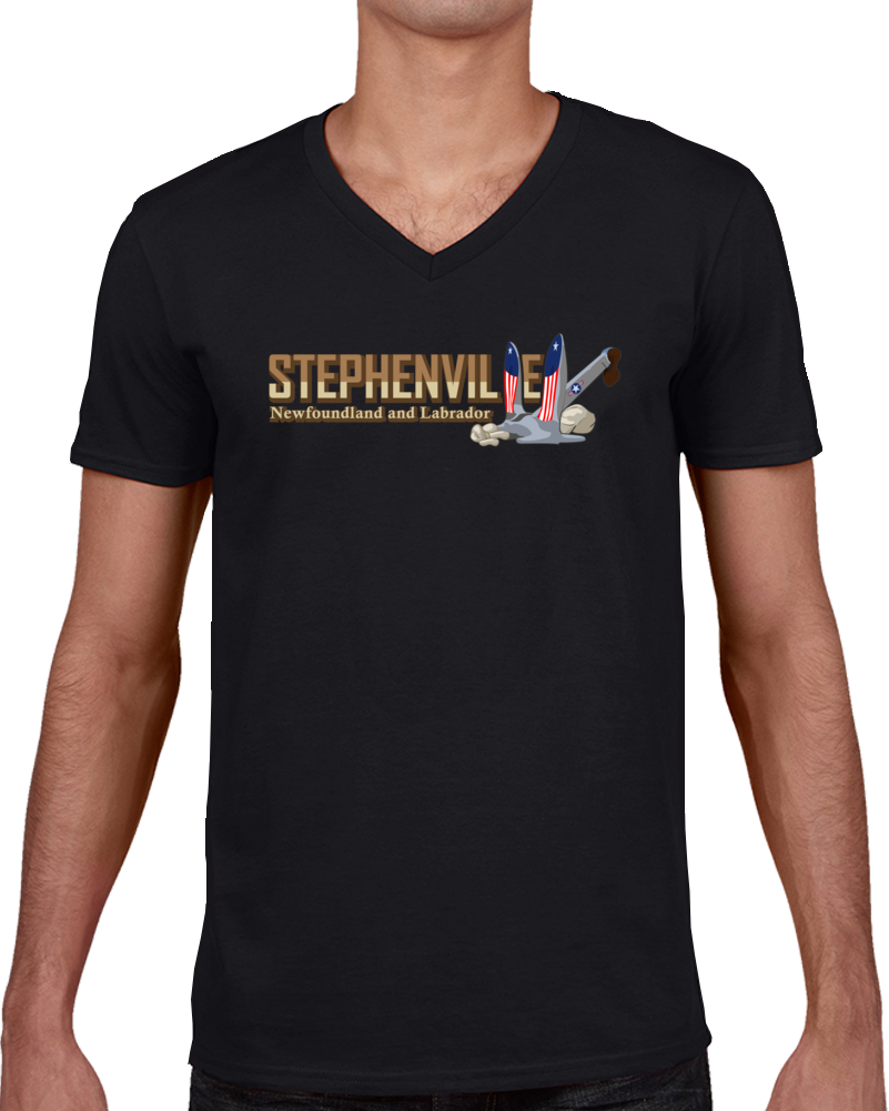 Black Stephenville With Anchor V Neck T Shirt