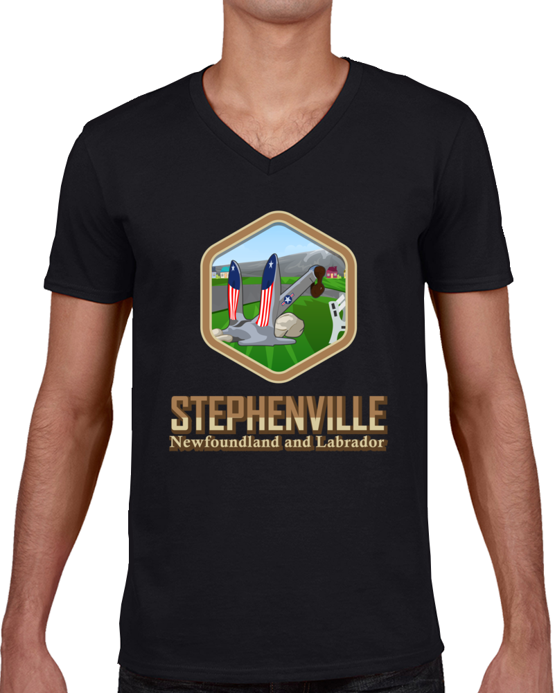 Black Stephenville With Anchor Hexagon V Neck T Shirt