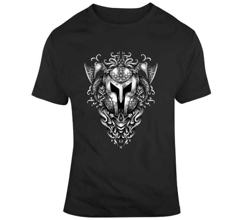 Viking Mask Axes Helmet T Shirt