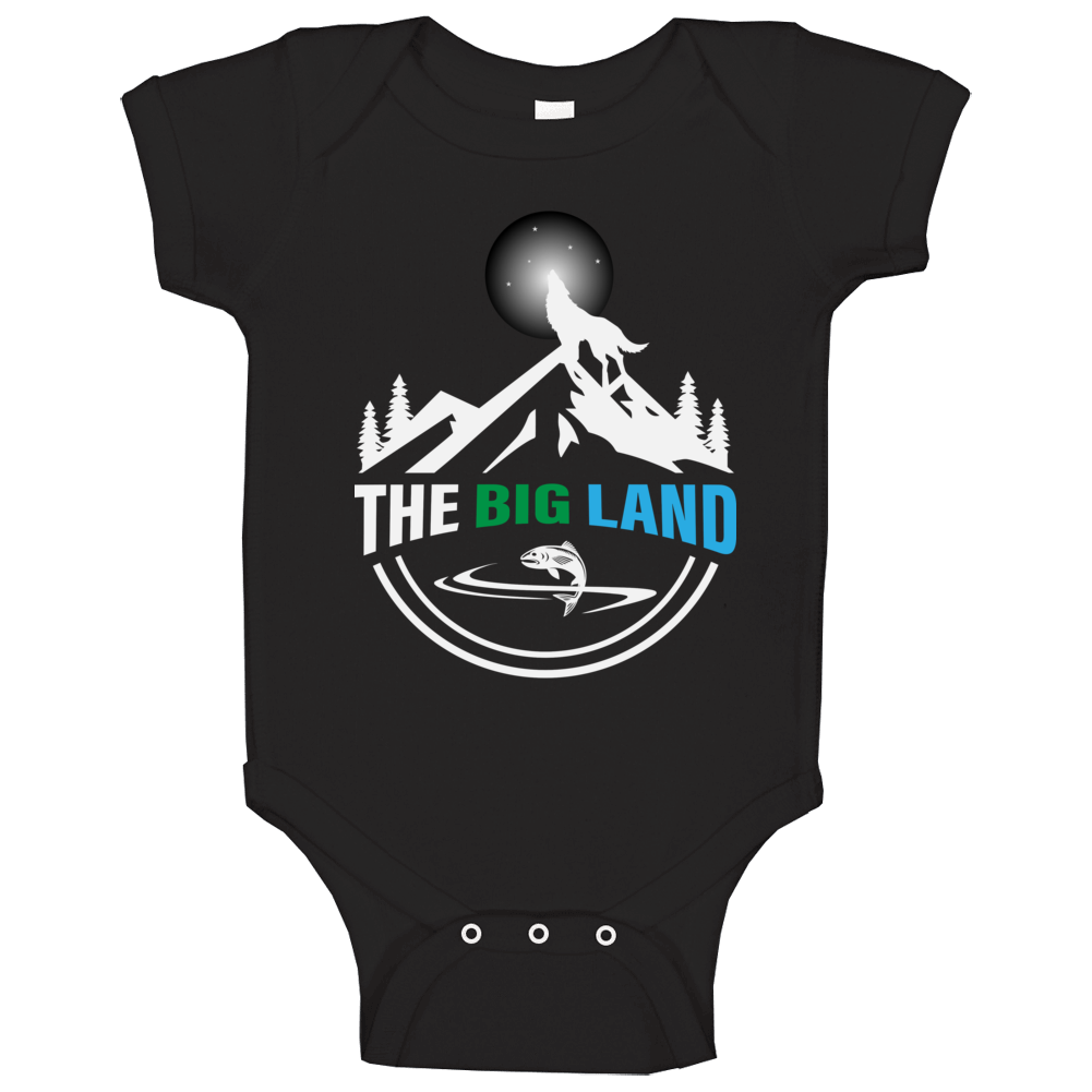 The Big Land Labrador Wolf And Salmon Baby One Piece