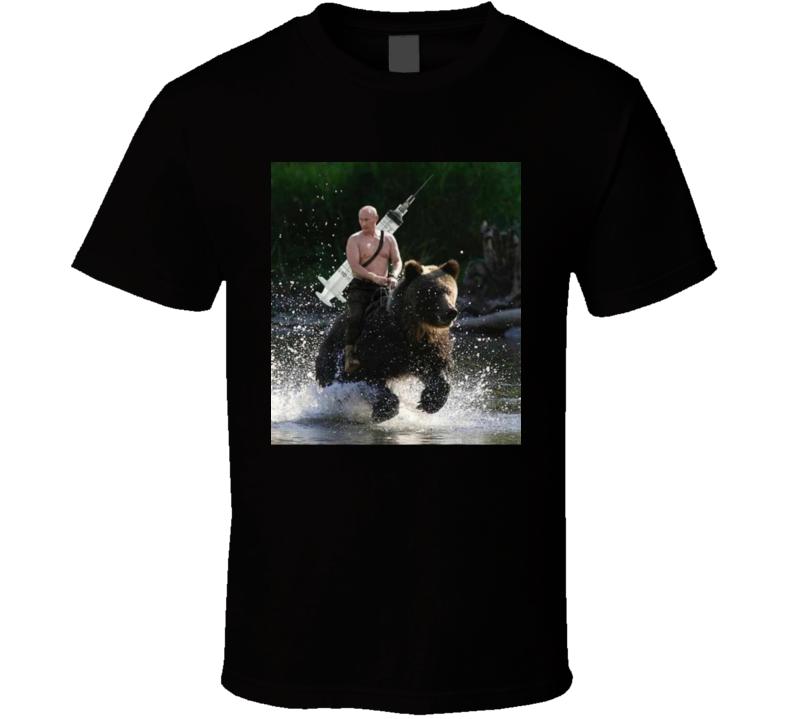 Vladimir Putin Riding A Bear Vaccine Russia  Meme T Shirt