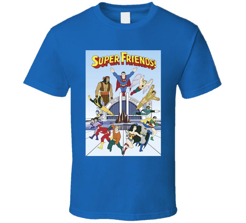 Super Friends Cartoon Hall Of Justice T Shirt